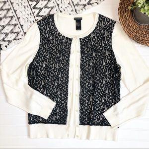 ANN TAYLOR  Button Down Cream/Black Lace Cardigan